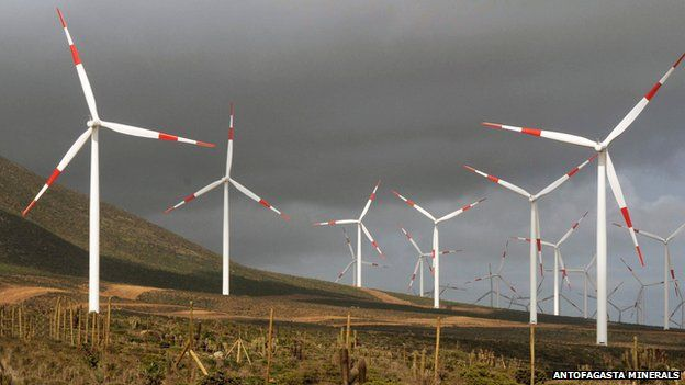 El Arrayan wind farm in Chile in August 2014