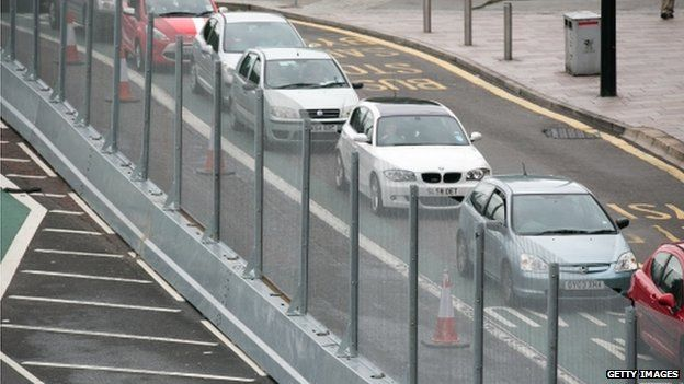 Traffic and security fencing in Cardiff