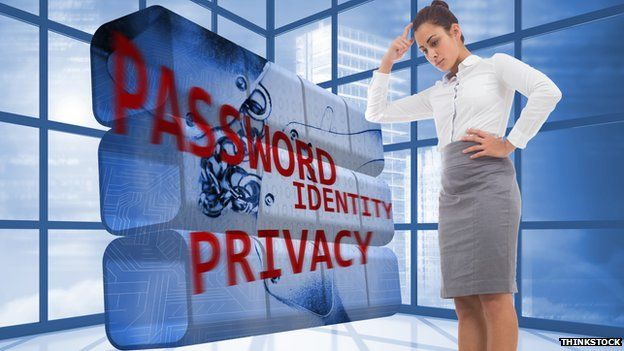 woman thinking in from of password graphic