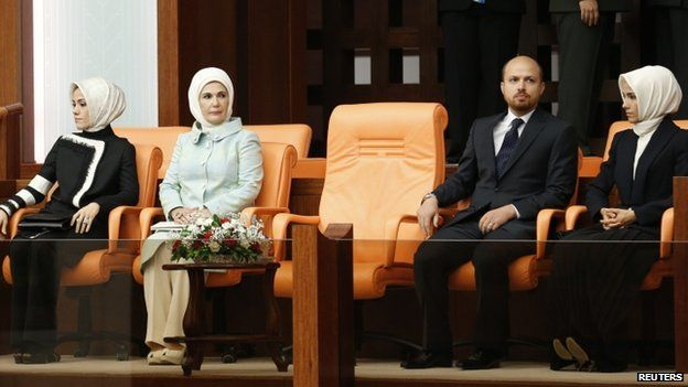 Family members of Mr Erdogan, watch his swearing-in ceremony (28 August 2014)