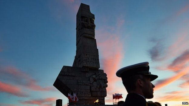 Dawn commemorations to mark the 75th anniversary of the outbreak of World War Two at the Westerplatte memorial in Gdansk, northern Poland, 1 September 2014