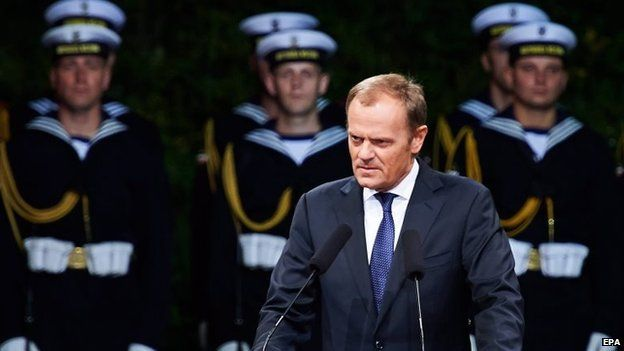 Polish Prime Minister Donald Tusk (C-R) attends commemorations of the 75th anniversary of the outbreak of World War Two at the Westerplatte memorial in Gdansk, northern Poland, 1 September 2014