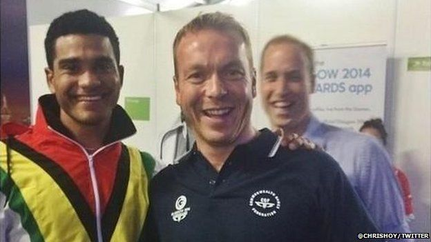 Sir Chris Hoy posted a picture with Prince William in the background, he claimed it was a 'photobomb'