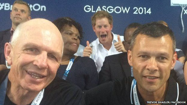 Sport Manawatu chief executive Trevor Shailer posted a picture of Prince Harry in the background