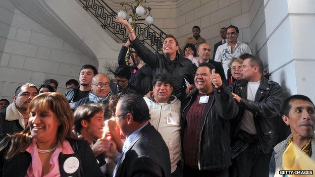 Activists celebrate the approval of the same-sex marriage bill in Mexico City on 21 December, 2009.