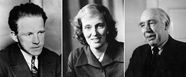 (left to right) Werner Heisenberg, Dorothy Hodgkin, Niels Bohr