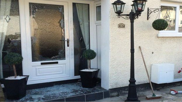A number of shots were fired when the door of the house was opened
