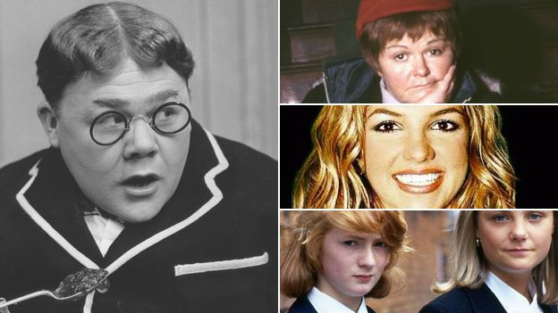 Images of Billy Bunter, Jimmy Krankie, Britney Spears and Grange Hill