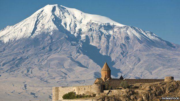Armenian church of Khor Virap with Mount Ararat in background