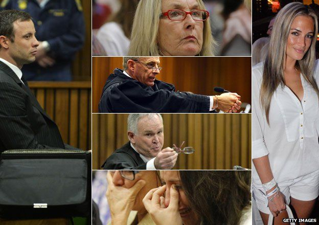 L: Oscar Pistorius in court in Pretoria, South Africa C: June Steenkamp in court in Pretoria (top), prosecutor Gerrie Nel in court in Pretoria (2nd from top), defence lawyer Barry Roux (2nd from bottom) in court in Pretoria, Aimee Pistorius crying in court (bottom) R: Reeva Steenkamp pictured in January 2013
