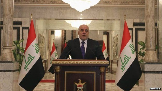 File photo: Iraq's Prime Minister-designate Haider al-Abadi speaks during a news conference in Baghdad, 25 August 2014