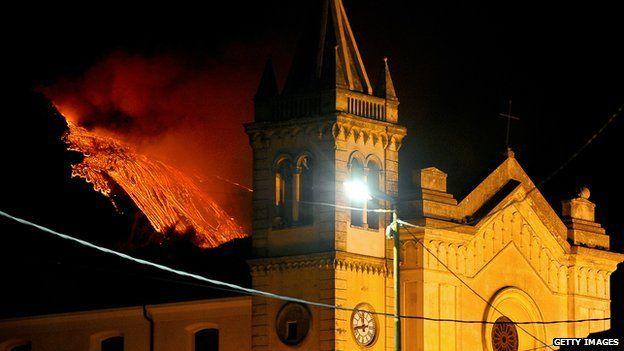 Lava threatens Italian church