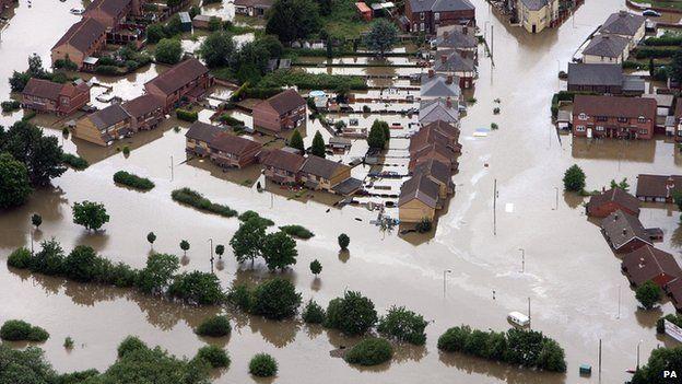 Flooding at Catcliffe, near Sheffield