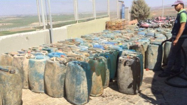 Jerrycans seized from smugglers from Syria