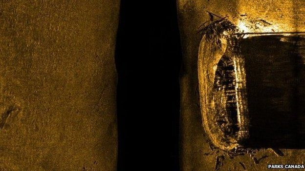 Sonar image of a ship on the northern Canadian sea bed