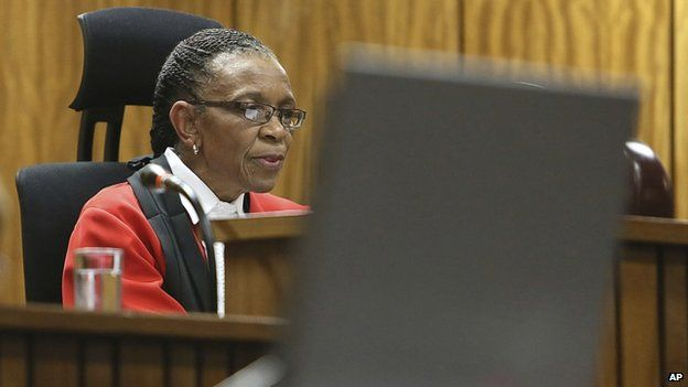 Judge Thokozile Masipa delivers her judgement in court in Pretoria, South Africa, Friday, Sept. 12, 2014
