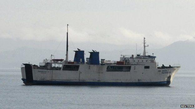 File photo of the MV Maharlika 2 undergoing repairs near Lipata Port in Surigao city