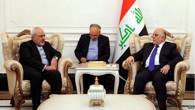 Iraq's new Prime Minister Haider al Abadi meets Iran's FM Javad Zarif in Baghdad 24 August 2014