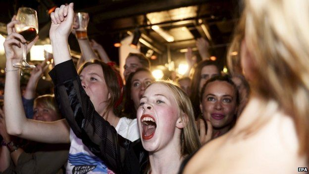 Supporters cheer at the election night party of the Feminist Initiative in Stockholm, Sweden on 14 September 2014.