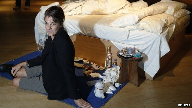 Tracey Emin and her 1988 work My Bed