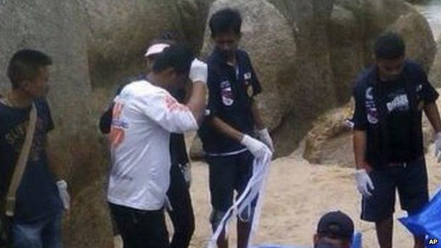 Police have cordoned off the scene of the deaths of two British tourists in Koh Tao, Thailand