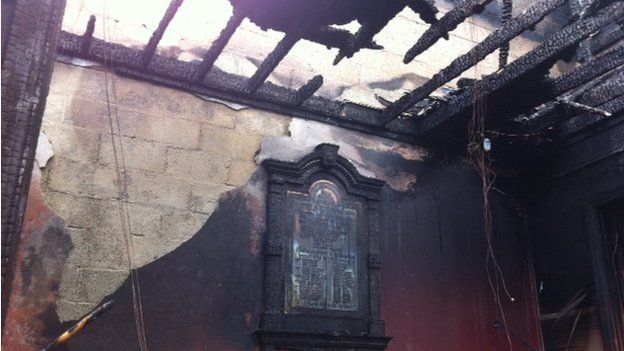 The interior of the building has been gutted and the roof was totally burnt off