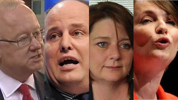 (o'r chwith) Leighton Andrews, Andrew RT Davies, Leanne Wood a Kirsty Williams