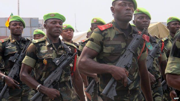Cameroonian troops parade on 20 February 2014 in Douala during ceremonies for the 50th anniversary of Cameroon's independence