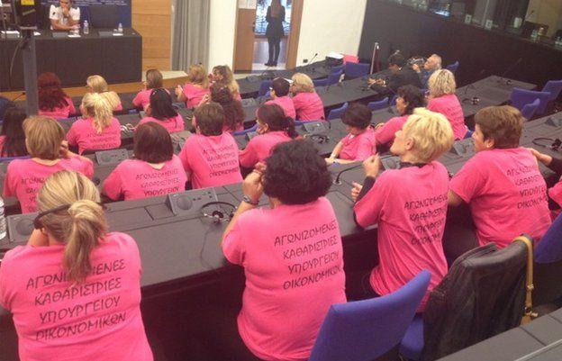 Greek cleaning ladies lobbying in Strasbourg