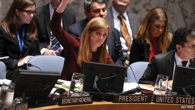US Ambassador to the UN Samantha Power at the vote during the Security Council meeting on the Ebola crisis at the UN headquarters in New York (18 September 2014)