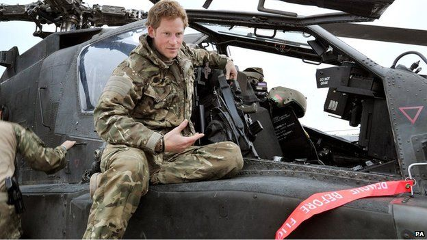 Prince Harry in helicopter in Afghanistan