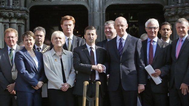 politicians outside St Giles