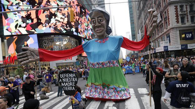 Mother Earth float making its way down 42nd Street, New York