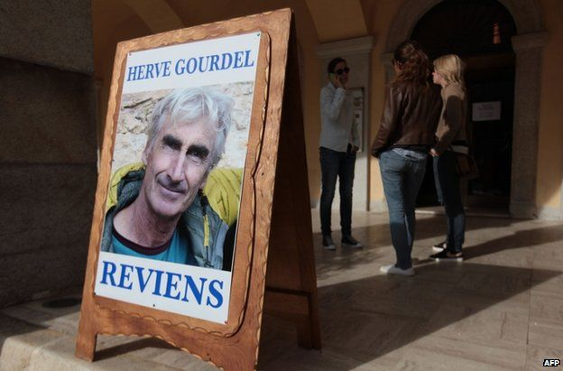 Poster of Herve Gourdel in the town hall of Saint-Martin-Vesubie, south-eastern France, 23 September