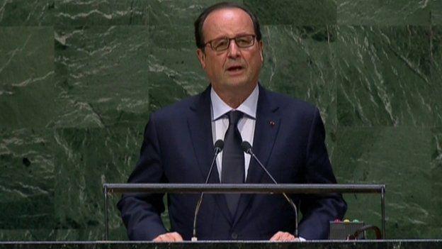 French President Francois Hollande addresses the UN General Assembly (24 September 2014)