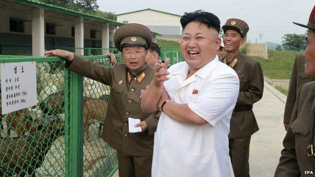 North Korean leader Kim Jong-un (C) reacting as he visits the North Korean People's Army Breeding Station No. 621. File photo