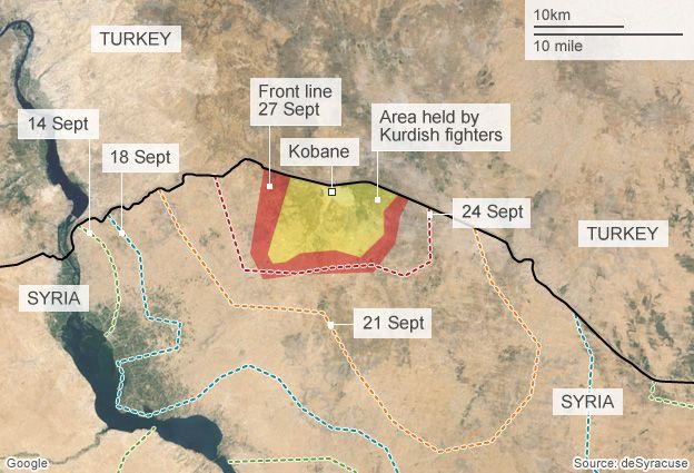 map showing IS advance on Kobane