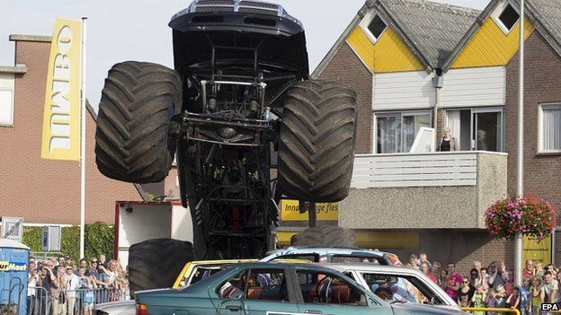 Monster truck in action at show in Haaksbergen. Netherlands. 28 Sept 2014