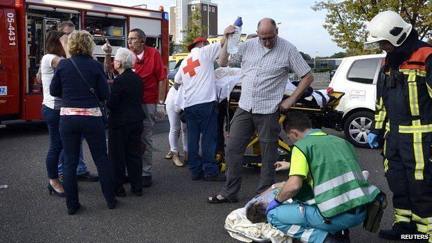 Injured treated after monster truck crash. 28 Sept 2014
