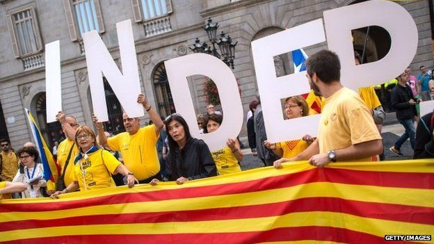 Protesters gathered in front of the Catalan government building on 27 September 2014 in Barcelona, Spain.
