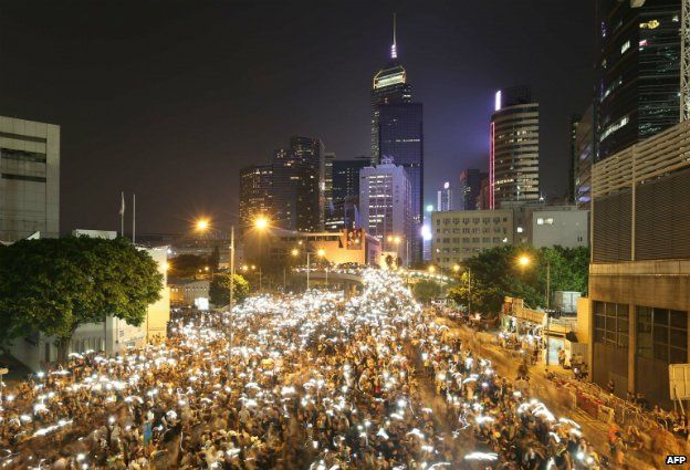 Pro-democracy protesters rally in the Admiralty region of Hong Kong - 29 September 2014