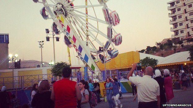 Ride at amusement park in Uptown, in Damascus suburb of Dummar