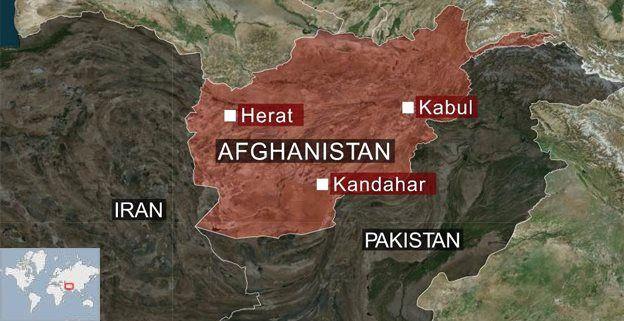 Map showing Afghanistan