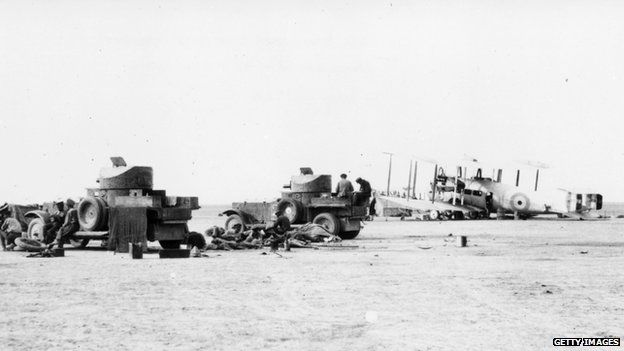 British RAF armoured cars and bomber planes on duty in Iraq during the Mesopotamia conflict