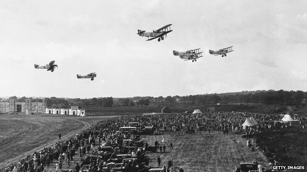Day bombers fly over spectators at Hendon, during an RAF demonstration