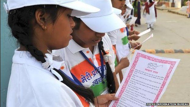Millions of school children took the pledge to keep India clean at the launch of the campaign