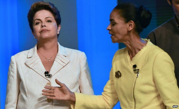 Dilma Rousseff (left) and Marina Silva are seen before their last TV debate in Rio de Janeiro, Brazil, on 2 October 2014