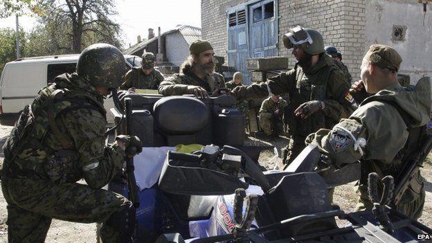 Separatists near Donetsk airport in eastern Ukraine, 3 October 2014