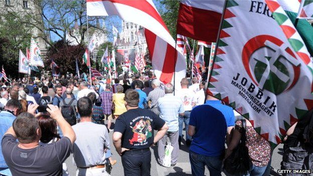 A Jobbik protest in May 2014 in Budapest