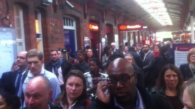 Delayed train commuters